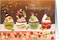 Thanksgiving, Row of 4 Cupcakes with Toppings to appreciate card