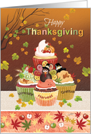 Happy Thanksgiving, Tier of Cupcakes with Harvest Toppings card