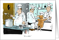 Amusing be my dinner date cartoon with chef and his service dog card