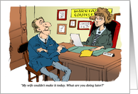 Humorous Will You Be My Date Cartoon Message from a Man card