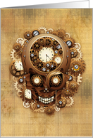 Blank Note Card, Steampunk Skull Vintage Style Design card
