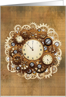 Blank Note Card, Steampunk Vintage Style Clocks and Gears card