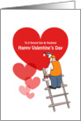 Valentine's Day Son & Husband Cards, Red Hearts, Painter Cartoon card