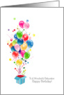 Babysitter Birthday Cards Balloons Bursting Out Of Magical Gift Box card