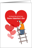 Valentine's Day Niece & Fiance Cards, Red Hearts, Painter Cartoon card