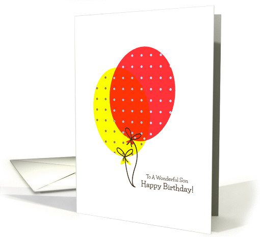 Son Birthday Cards, Big Colorful Balloons card (1236258)
