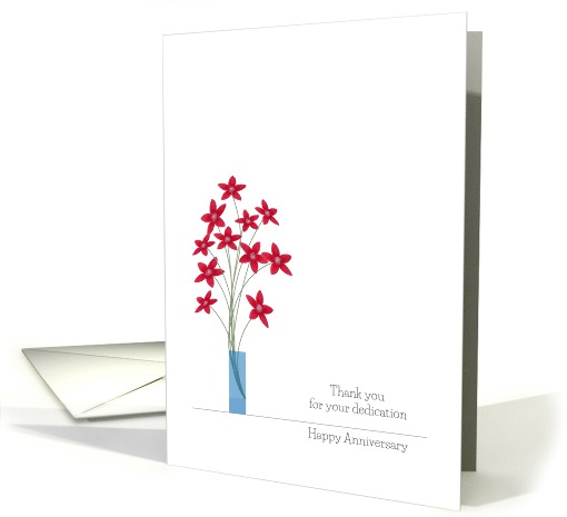 Employee Anniversary Cards, Cute Red Flowers In A Vase card (1247260)