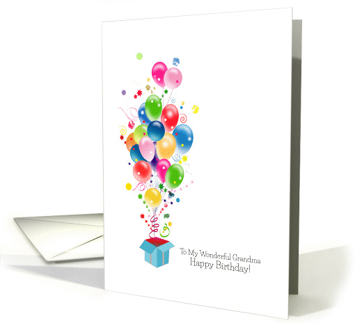 Grandmother Birthday Cards Balloons Bursting Out Of... (1267682)