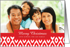Red Ikat Pattern Holiday Photo Card