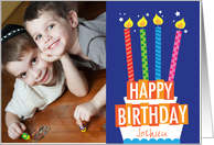 Bright Birthday Cake Custom Photo Birthday Card