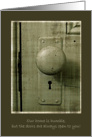 Welcome to Our Home -- Green Vintage Looking Door, Door Knob in Frame card