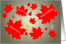 Happy Canada Day -- Red Maple Leaves -- Party Hats -- Balloons card