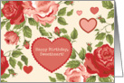 Happy Birthday Sweetheart - Red Pink Hearts Flowers on Creamy Backdrop card