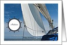 Happy Birthday-Andrew-Customizable-Sailboat-Blue-White-Pun-Photo card