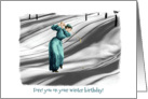 Vintage Golfer in Snow - Photograph - Black and White - WinterBirthday card
