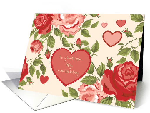 Happy Birthday, Beautiful Sister, Cathy -- 68th Customizable card