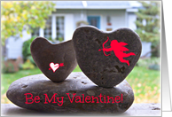 Be My Valentine - Heart Shaped Rock Photograph Cupid Heart Overlay card