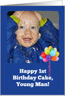 Happy Birthday First Birthday Cake - One-Year-Old in Blue card