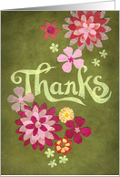 Thanks with Pink and Yellow Blooms card