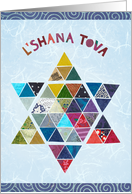 Star of David in Colorful Mosaic for Rosh Hashanah card