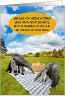 Anteater Picnic Forgot Ants Funny Romance Card