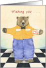 Brown Bear in Jeans and Checked Shirt wishes Happy Birthday card