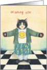 Black and White Kitten in Happy Face tee Shirt - Nice Birthday card