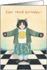 Black and White Kitten in Happy Face tee Shirt - Third Birthday card