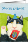 Special Delivery Happy Birthday Cat card