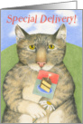 Special Delivery Happy Birthday Cat with Daisy card