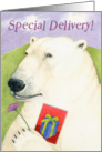 Special Delivery Happy Birthday Polar Bear with Flower card