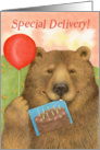 Special Delivery Happy Birthday Bear with Balloon card