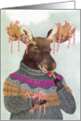 Candy Cane Moose Christmas card
