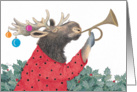 Moose Tooting His Horn Holiday Card