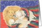 Lion Lays Down with the Lambs Peace Christmas Card