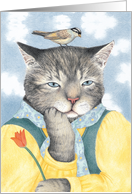 On My Mind Cat with Bird Valentine card