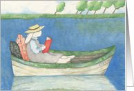 Rabbit Reading in a Row Boat Friendship Card