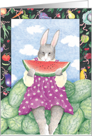 Lady Rabbit Eating Watermelon Party Invitation card