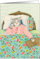 Stunning in Pajamas Cat in Bed Get Well Card