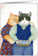 Tin for Two Cat Couple Anniversary Card