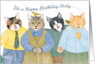 Smiling Group of Cats Birthday Party Invitation card