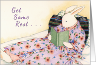 Lady Rabbit Relaxing with a Book Get Well Card