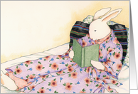 Lady Rabbit Relaxing with a Book Note Card
