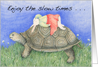 Napping Rabbit Rides on Tortoise Friendship Card