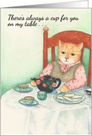 Cat with Teapot and Cookies Friendship Card