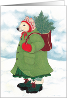 Dressed for Winter Bear with Little Christmas Tree Holiday Card