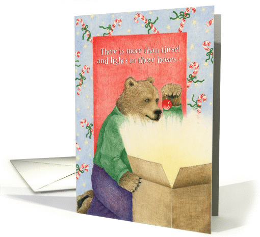 Christmas Magic Bear Looking in Box card (1305512)