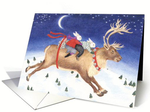 Rabbits Riding a Reindeer Christmas card (1307606)
