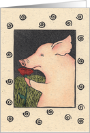 Friendship Piggy Smelling the Roses card