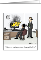 Funny Tech Support Cartoon Blank Any Occasion card